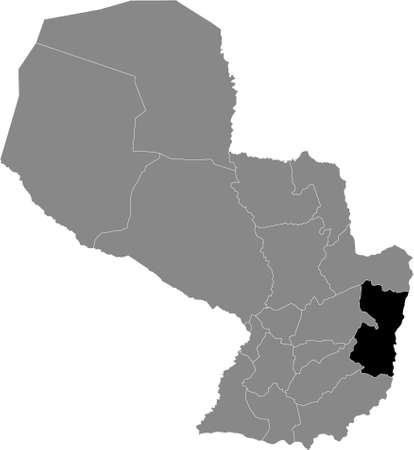 Black Location Map of the Paraguayan Department of Alto Paraná within Grey Map of Paraguay