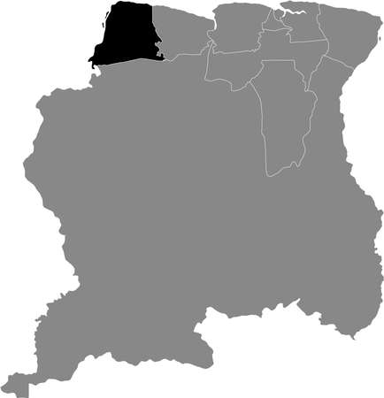 Black Location Map of the Surinamese District of Nickerie within Grey Map of Suriname