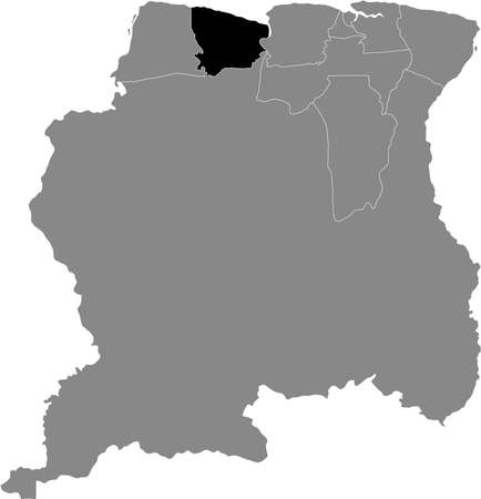 Black Location Map of the Surinamese District of Coronie within Grey Map of Suriname Illustration