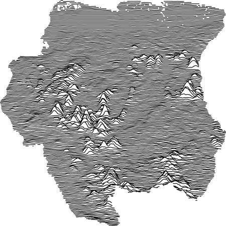 Black and White 3D Contour Topography Map of the South American Country of Suriname