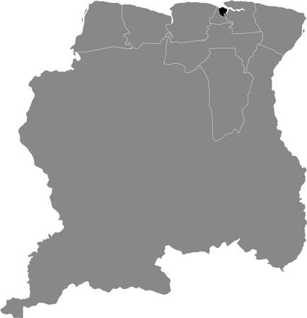 Black Location Map of the Surinamese District of Paramaribo within Grey Map of Suriname Banque d'images - 157011784