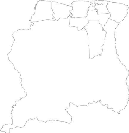 White Blank Flat Districts Map of the South American Country of Suriname Banque d'images - 157011785