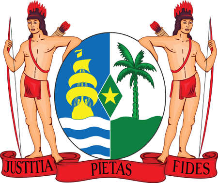 Vector Illustration of the National Emblem of the Republic of Suriname