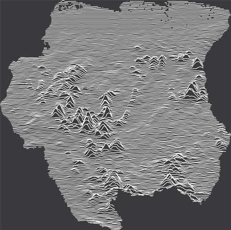 Dark Black and White 3D Contour Topography Map of the South American Country of Suriname Banque d'images - 157011789