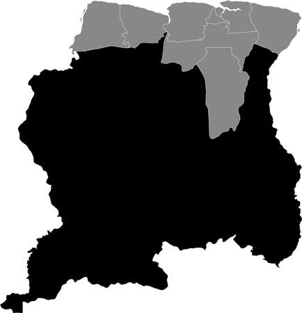 Black Location Map of the Surinamese District of Sipaliwini within Grey Map of Suriname Illustration