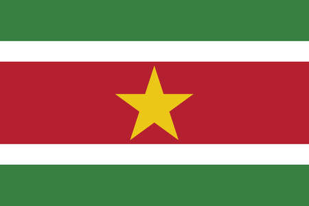 Vector Illustration of the National Flag of the Republic of Suriname Illustration