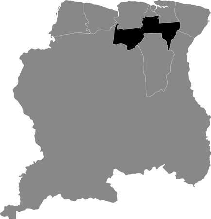 Black Location Map of the Surinamese District of Para within Grey Map of Suriname