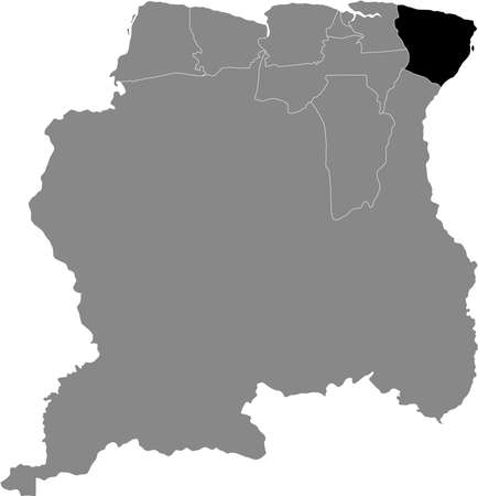 Black Location Map of the Surinamese District of Marowijne within Grey Map of Suriname Banque d'images - 157011794