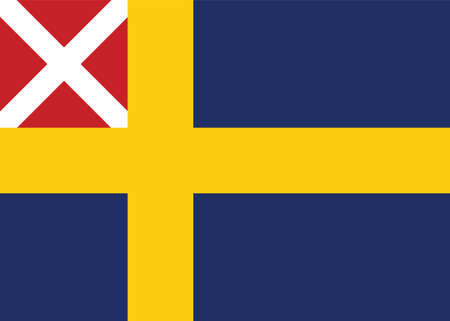 Vector Illustration of the Historical Timeline Swedish and Norwegian Merchant Flag from 1818 to 1844 Illustration