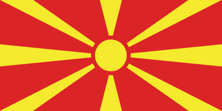 Vector Illustration of the Historical Timeline Current Flag of North Macedonia