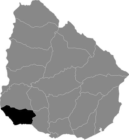 Black Location Map of the Uruguayan Department of Colonia within Grey Map of Uruguay Illustration