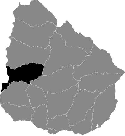 Black Location Map of the Uruguayan Department of Río Negro within Grey Map of  Uruguay Banque d'images - 157828645