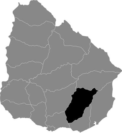 Black Location Map of the Uruguayan Department of Lavalleja within Grey Map of  Uruguay Illustration