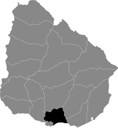 Black Location Map of the Uruguayan Department of Canelones within Grey Map of Uruguay Illustration