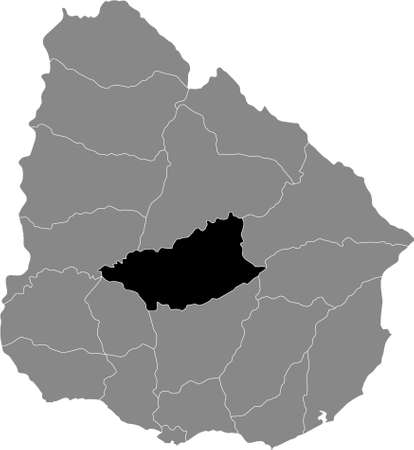 Black Location Map of the Uruguayan Department of Durazno within Grey Map of Uruguay