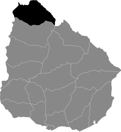 Black Location Map of the Uruguayan Department of Artigas within Grey Map of Uruguay