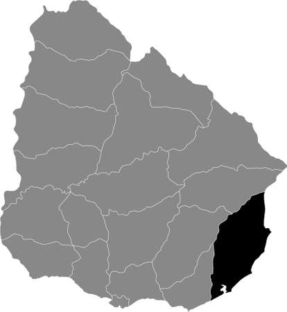 Black Location Map of the Uruguayan Department of Rocha within Grey Map of  Uruguay Illustration