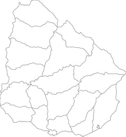 White Blank Flat Departments Map of the South American Country of Uruguay
