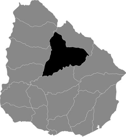 Black Location Map of the Uruguayan Department of Tacuarembó within Grey Map of  Uruguay Illustration