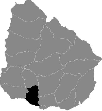 Black Location Map of the Uruguayan Department of San José within Grey Map of  Uruguay Illustration