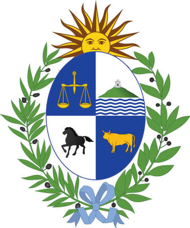 Vector Illustration of the National Coat of Arms of the Oriental Republic of Uruguay