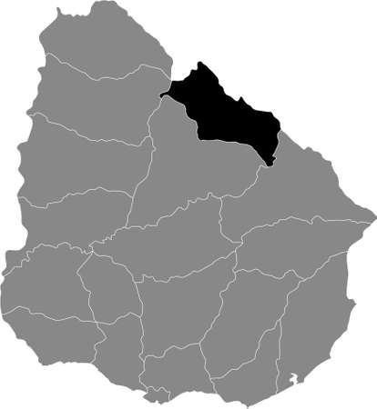 Black Location Map of the Uruguayan Department of Rivera  within Grey Map of  Uruguay Illustration