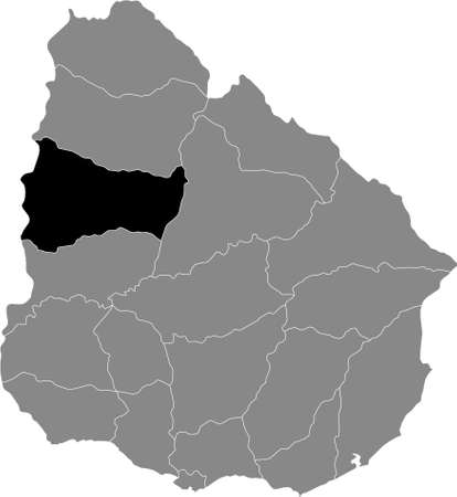 Black Location Map of the Uruguayan Department of Paysandú within Grey Map of  Uruguay Illustration