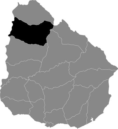 Black Location Map of the Uruguayan Department of Salto within Grey Map of  Uruguay