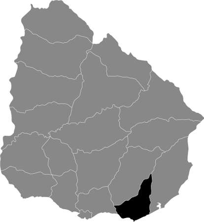 Black Location Map of the Uruguayan Department of Maldonado within Grey Map of  Uruguay