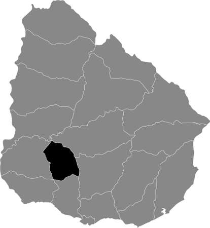 Black Location Map of the Uruguayan Department of Flores within Grey Map of Uruguay Illustration