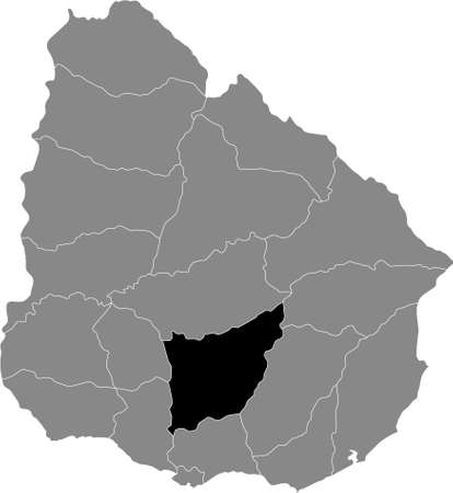 Black Location Map of the Uruguayan Department of Florida within Grey Map of Uruguay Illustration