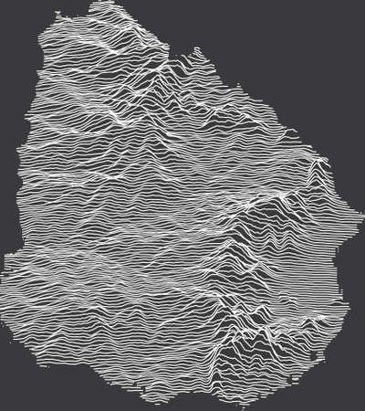Dark Black and White 3D Contour Topography Map of the South American Country of Uruguay