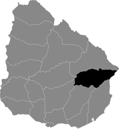 Black Location Map of the Uruguayan Department of Treinta y Tres within Grey Map of  Uruguay Illustration