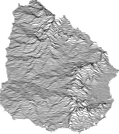 Black and White 3D Contour Topography Map of the South American Country of Uruguay