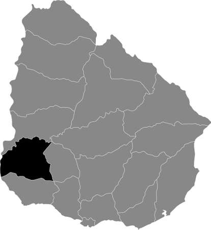 Black Location Map of the Uruguayan Department of Soriano within Grey Map of  Uruguay