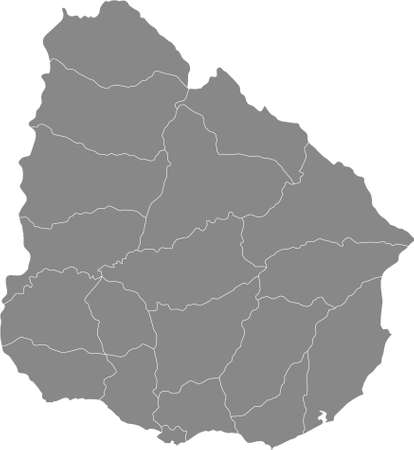 Grey Blank Flat Departments Map of the South American Country of Uruguay