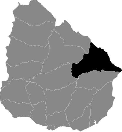 Black Location Map of the Uruguayan Department of Cerro Largo within Grey Map of Uruguay