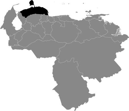 Black Location Map of the Venezuelan State of Falcón within Grey Map of Venezuela