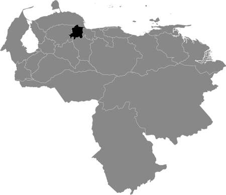 Black Location Map of the Venezuelan State of Yaracuy within Grey Map of Venezuela