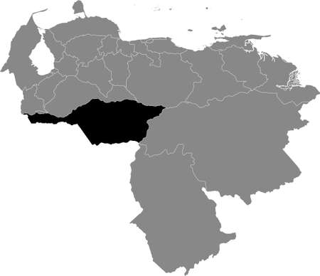 Black Location Map of the Venezuelan State of Apure within Grey Map of Venezuela