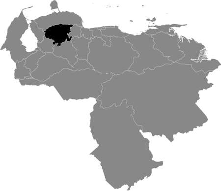 Black Location Map of the Venezuelan State of Lara within Grey Map of Venezuela Banque d'images - 157904639