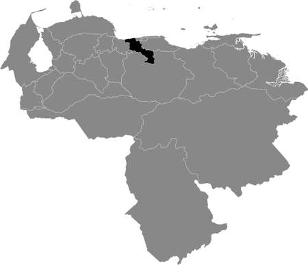 Black Location Map of the Venezuelan State of Aragua within Grey Map of Venezuela