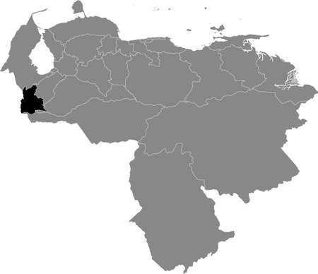 Black Location Map of the Venezuelan State of Táchira within Grey Map of Venezuela
