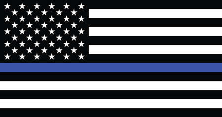 Former American Historic Vector Thin Blue Line Flag of the United States 벡터 (일러스트)