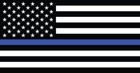 Former American Historic Vector Thin Blue Line Flag of the United States Ilustración de vector