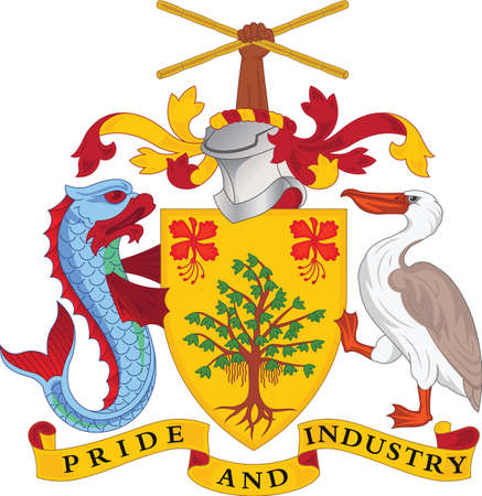 Official vector coat of arms of Barbados