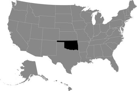 Black location map of US federal state of Oklahoma inside gray map of the United States of America