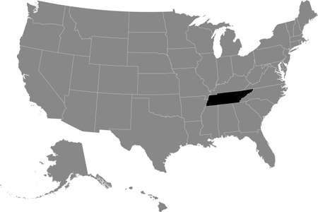 Black location map of US federal state of Tennessee inside gray map of the United States of America