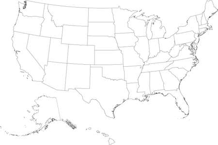 White vector federal map of the United States of America with black borders of it's federal states Vetores