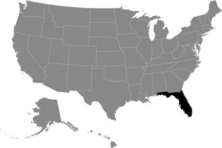 Black location map of US federal state of Florida inside gray map of the United States of America